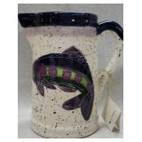 Shorelines Fish Painted Pitcher by Julie Ueland