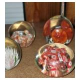 Lot of 4 Murano Style glass paper weights