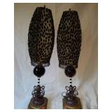Pair of Blown Glass & Metal Decorative Lamps