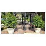 Pair of Massive Concrete Planters with Shrubs