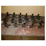 Lot of 23 Small Cast Iron Bird Candle Holders