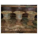 Set of 3 Beautiful Cast Iron Planters/Urns