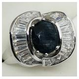 Silver Sapphire CZ Ring size 6