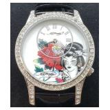 St.Steel Cubic Zirconia Ed Hardy Leather Watch