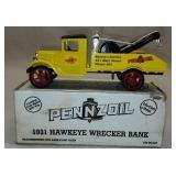 1931 Pennzoil Die Cast Metal Hawkeye Wrecker Bank