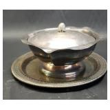 silver plate candy dish with a platter
