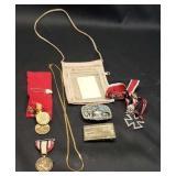 Estate lot of military medals, belt buckels, ect