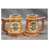 Lot of 2 wood mugs
