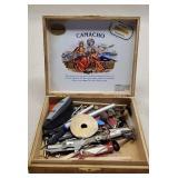 Vintage Wooden Camacho Cigar Box of Tools