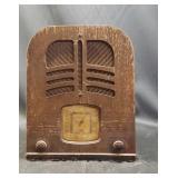 Vintage Philco wood frame radio