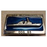 USS McCambell Naval Belt Buckle
