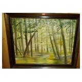 Folk Art Woods Oil Painting on Board