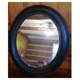 Beautiful vintage wood frame oval mirror