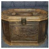 Vintage trunk of sewing supplies