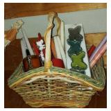 Basket full of candles and candle holders