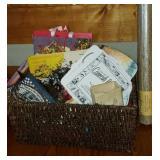 Beautiful basket full of paper fans, bags, etc