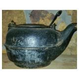 Vintage Black Cast Iron Tea Kettle with Handle