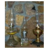 Lot of 3 Vintage Glass Kerosene Lamps