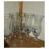 Lot of 7 tall drinking glasses