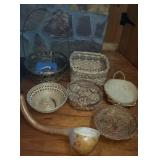 Estate lot of wooden baskets and a gourd