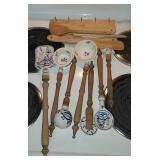 Lot of blue and white utensils, and wood spoons