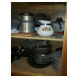 Estate lot of skillets, pots, pans, etc