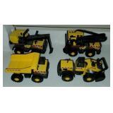 Set of 4 Small Yellow Tonka Toy Tractors