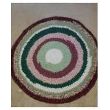 Vintage Multicolored Round Loop Rug