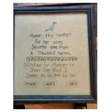 Antique 1805 Cross Stitch Honor Thy Mother Picture