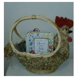 Super Cute Decorative Rooster Basket and Books