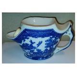 Vintage Blue Willow Pottery Shaving Mug & Brush