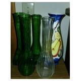 Set of 5 Glass & Pottery Decorative Flower Vases