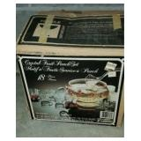 Vintage Partial 18 pc Crystal Fruit Punch Bowl Set