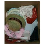 Large Box of Estate Towels, Clothes, Hats, Bags