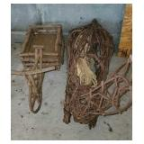 Pair of Wooden Vine Wrapped Bunny and Wagon
