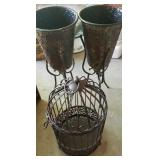 Estate lot of 2 vases and a bird cage