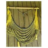 Yellow and blue hanging swing