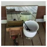 Estate lot of a mirror, bucket, etc