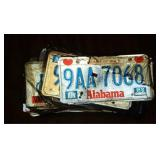 Stack of vintage license plate