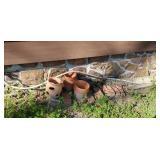 lot of terra cotta flower pots & broke cast iron