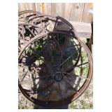 4 antique metal wheels