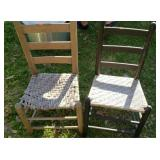 Pair of 2 wood ladder back chairs