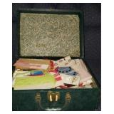 Beautiful vintage box full of sewing supplies