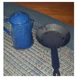 Speckled enamelware pan and pitcher