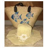 Pretty woven fish purse with sun hat
