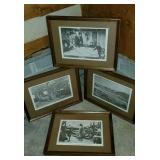 Set of 4 Vintage Black & White Framed Prints