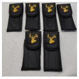 6 Small black deer head nylon sheaths