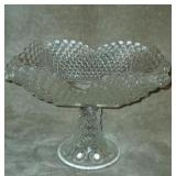 Beautiful Crystal Diamond Pattern Footed Dish