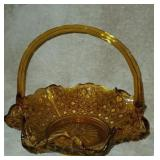Beautiful Amber Colored Glass Basket
