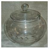 Beautiful Etched Grape Pattern Glass Bowl & Lid